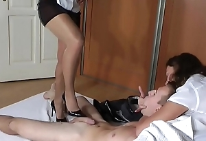 Double Shoejob prairie High Heels and Shiny Pantyhoses - More Footjob Videos on SweetNylonFeet.com