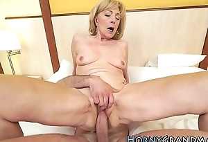 Hot grandma gets cumshot