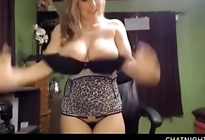 Amazing blonde mommy with huge milky tits sucking dildo and spraying milk for strangers pleasure on video chat