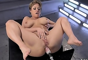 Broad in the beam tits Milf gets machine in the ass