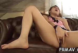 Lusty indelicate cleft insertion and rubbing from japanese babe
