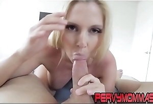 Busty cougar gets railed after sucking cock pov style