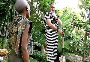 Black African miitary girl fucked in the ass by her prisonner