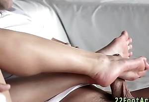 Ballerina gives footjob