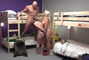 Fake Hostel Petite backbacker babe fucks an totalitarian unit in threesome