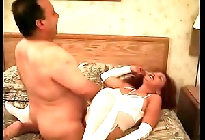 Randy slut Aurora gets a fat midget pounding her cunt while wearing white nylons