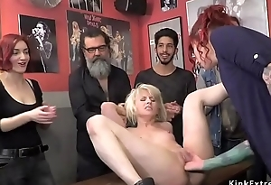 Euro blonde pussy fisted in public bar