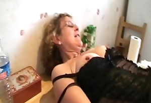 Francoise takes a black cock in the air the ass