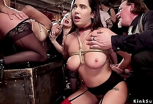 Slave beauties anal fucked at orgy party
