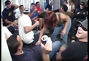 Crazy blonde strips and pole dances at a party before sucking cock