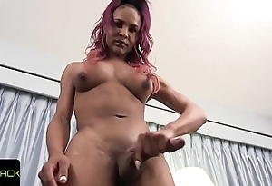 Bigtitted solo ghetto-blaster wanking huge black cock