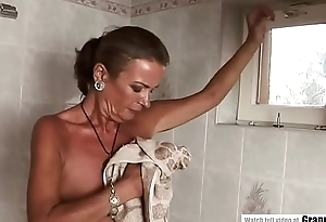 44 year old lady showers before having sex.