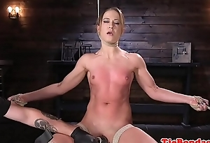 Caning good-luck piece babe orgasms during bondage