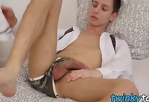 Feet fetishist youngster spills cum from cock solo