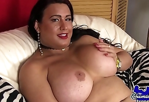 Mature shemale beauty wanking hard dick