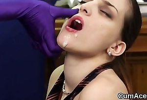 Spicy idol gets cumshot on her face swallowing all the semen