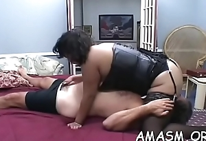 Guy gets atm act in real non-professional female domination show