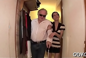 Sleder playgirl takes a hardcore fuck from behind by an old dude