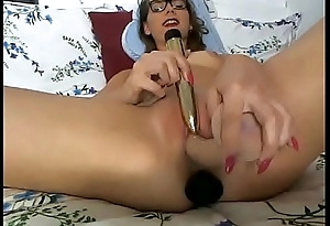 Dirty Slut Plays Pussy with Dildo Up Ass