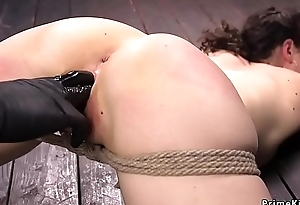 Brunette hogtied and fisted and fingered