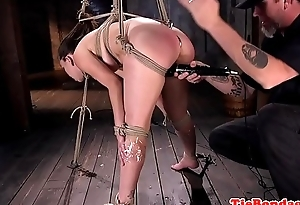 Submissive beauty spanked and dildo fucked