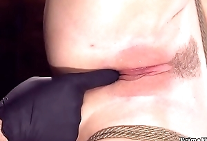 Busty babe in hogtie pussy tormented