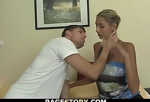 Ponytailed blonde takes gives head and gets rough fucked