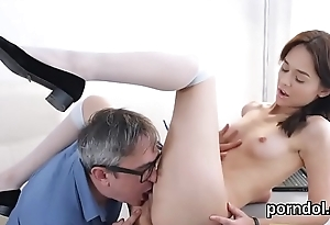 Fervent college girl gets seduced and fucked by elderly instructor