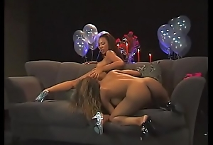 Dildo loving young black stripper lesbians lick ass and fuck with big sex trinket