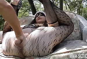 Double fisting and dildo fucking her huge pussy