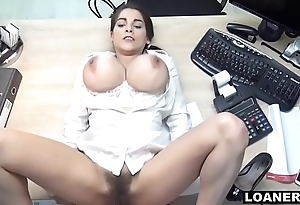 Hot Teen Uses Giant Tits &amp_ Hairy Pussy To Swing Favour Agent Decision