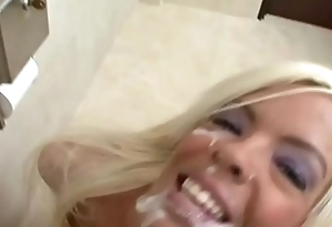 In my toilet office, the young girls were happy about a facial cum - Part 3