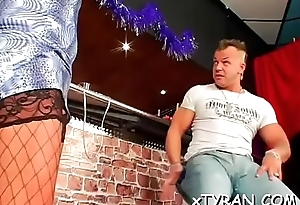 Femdom fetish with hottie making dude fuck her with tie together on